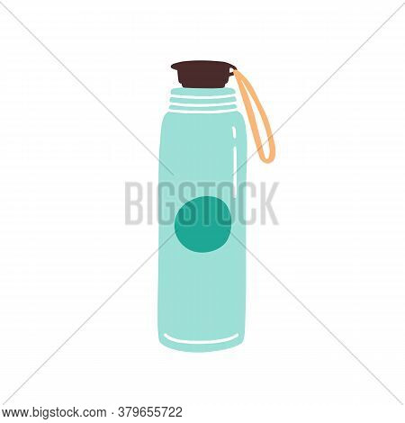Vacuum Thermo Tumbler Flask With Cap And Handle Vector Flat Illustration. Durable And Reusable Bottl