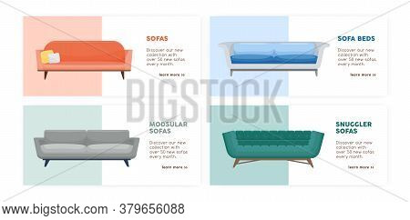 Banner Of Comfy Modern Couches Set Vector Flat Illustration. Collection Of Promo Flyer With Place Fo