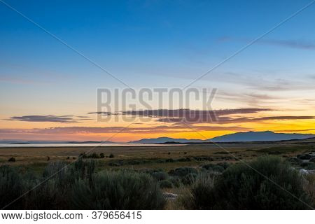 An Overlooking View Of Nature In Antelope Island State Park, Utah