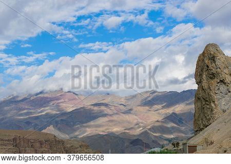 Shadows Of Clouds On Himalayan Mountains At Mulbek, Ladakh. Blue Sky With White Clouds In The Backgr