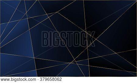Blue Luxury Polygon Texture. Gold Lines Triangular Premium Frame. Vip Rich Silver Geometric Celebrat