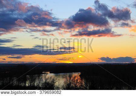 Sunset Over The Dnieper River In Ukraine