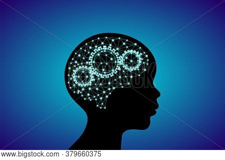 3d Digital Neuro Glowing Particles Lines And Dots Plexus Structure Human Brain With Cog Wheels On Ch