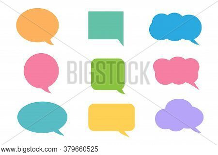 Colorful Callout Icons Set Isolated On White Background, Vector Illustration.