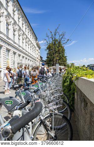 Ljubljana, Slovenia - August 15, 2019: Bicycle Parking On The Promenade In Ljubljana