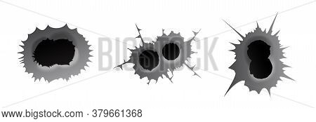 Bullet Double Hole On White Background. Set Of Double Realisic Metal Bullet Hole, Damage Effect. Vec
