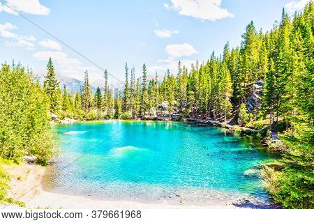 Emerald-colored Grassi Lakes In Canmore, Kananaskis, A Popular Hiking Spot In The Canadian Rockies O
