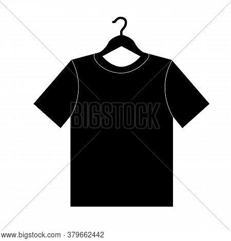 Tshirt On Hanger Icon On White Background. Clothing Sign. Dress Symbol. Flat Style.