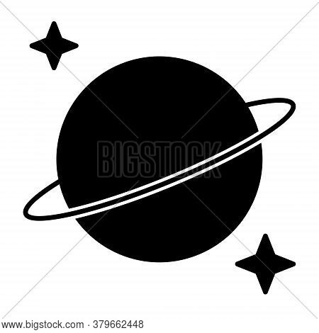 Saturn And Stars Icon. Symbol Of Night. Element For Web Design. Vector Illustration.