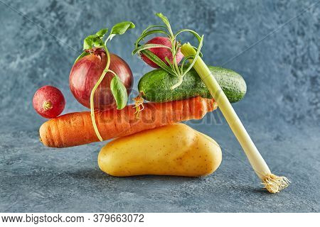 A Gourmet Food Composition With Colorful Vegetables On A Purple Background, For A Fun Gastronomy And