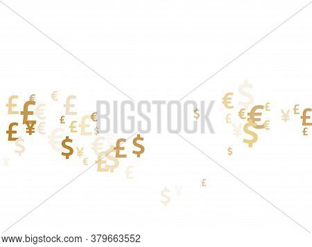 Euro Dollar Pound Yen Gold Symbols Scatter Currency Vector Background. Commerce Concept. Currency To