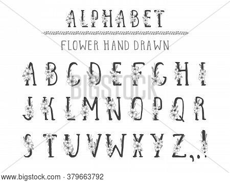 Vector Hand Drawn Alphabet In Style Grunge With Floral Elements And Flower. Capital Letters. Regular
