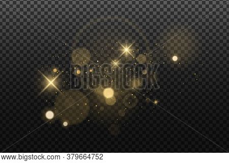 Abstract Golden Lights Bokeh Isolated On A Dark Transparent Background. Shining Stars And Glare. Foo