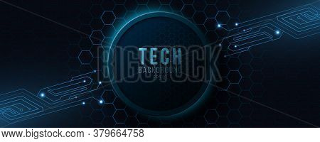 Futuristic Hi-tech Banner With Computer Circuit. Modern Tech Design. Glowing Blue Neon Honeycombs Wi