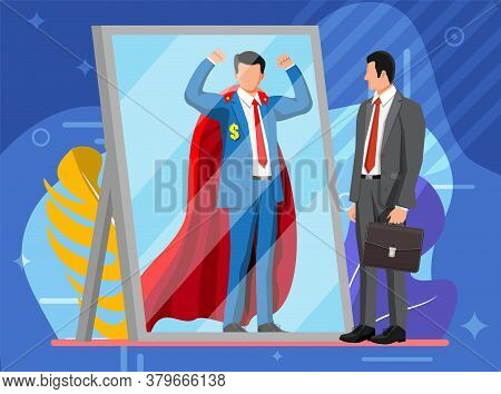 Businessman Facing Himself As Superhero In Mirror. Business Ambition And Success Concept. Symbol Of
