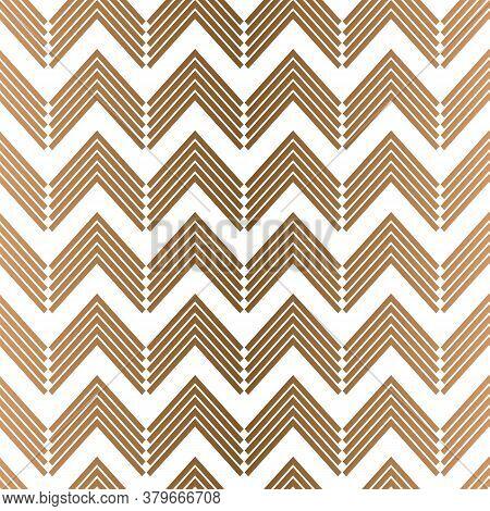 Vector Geometric Golden Zigzag Horizontal Lines Seamless Pattern Background
