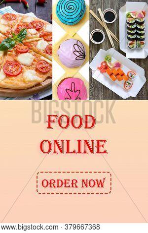 Poster For Catering Establishments. Online Food Ordering Concept. Design For Online Fast Food Order