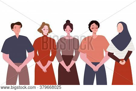 Group Young People Men Women Feels Sorry Holding Hand Unhappy Expression With Flat Cartoon Style.