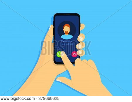 A Hand Holds A Phone With An Incoming Call. Incoming Call Interface In Cartoon Style.