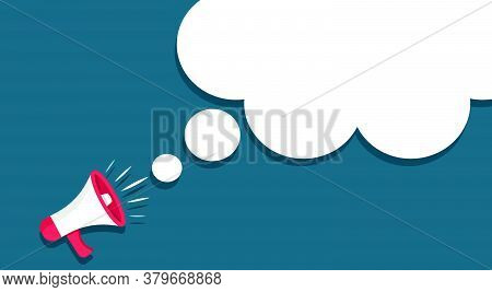 Megaphone With Empty Bubbles Speech. Loudspeaker In Cartoon Style. For Announcement Or Important Inf
