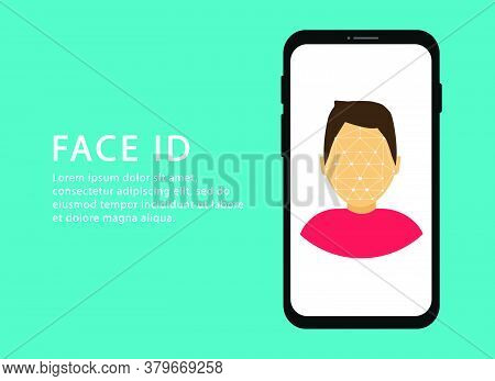 Face Recognition. Scanning Face. Identification Person. Face Id. Modern Web Pages For Web Sites.
