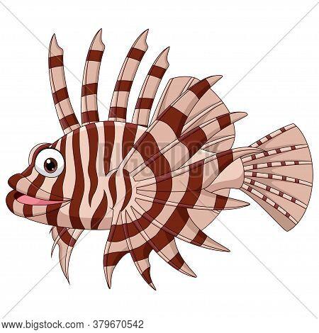 Vector Illustration Of Cartoon Scorpion Fish Isolated On White Background
