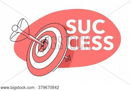 Success Concept - Business Strategy And Targeting Success - Bulls Eye Hit In Archery, Arrow Pierced