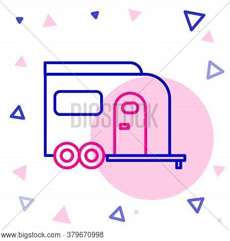 Line Rv Camping Trailer Icon Isolated On White Background. Travel Mobile Home, Caravan, Home Camper