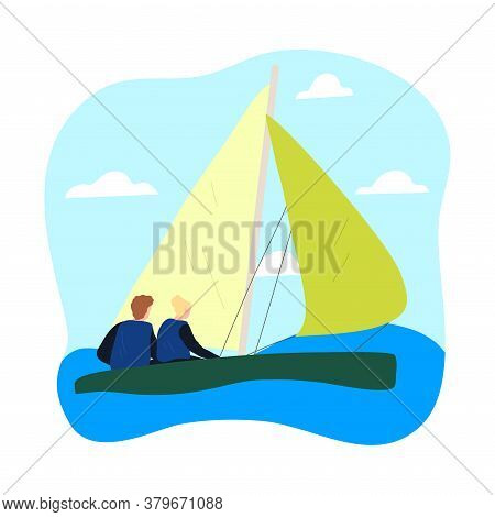 Couple In Special Costumes Sitting In Sailboat And Enjoying Trip Under Sail
