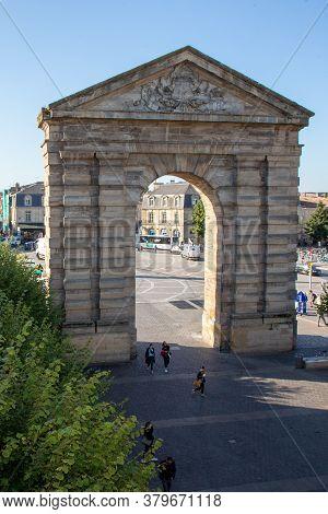 Bordeaux , Aquitaine / France - 09 06 2019 : Place Victoire Bordeaux Aquitaine Gate Ancient Triumpha