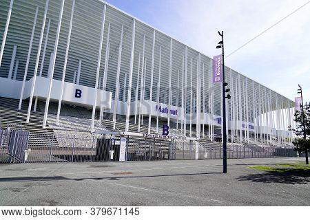 Bordeaux , Aquitaine / France - 10 25 2019 : Matmut Atlantique Stadium Entrance In Bordeaux Facade F