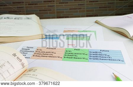 Colorful English Grammar Sheets On White Table In Front Of Whiteboard In Classroom
