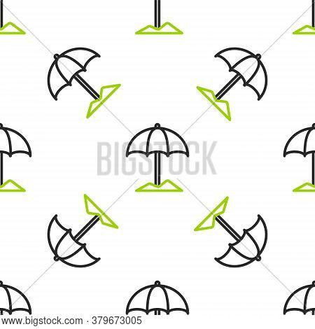 Line Sun Protective Umbrella For Beach Icon Isolated Seamless Pattern On White Background. Large Par