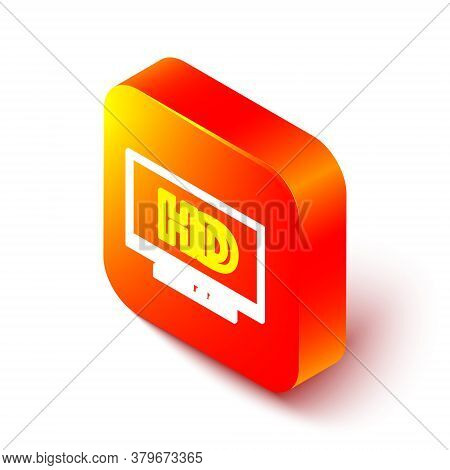 Isometric Line Smart Display With Hd Video Technology Icon Isolated On White Background. Orange Squa