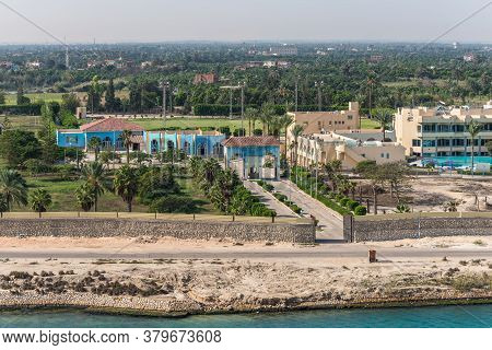 Ismailia, Egypt - November 14, 2019: Ismailia Olympic Village On The Shore Of The Suez Canal Near Is