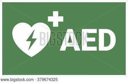 Aed Sign. Emergency First Aid Defibrillator Sign Sticker