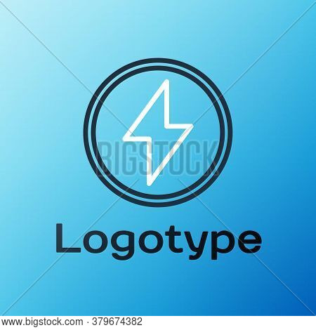 Line Lightning Bolt Icon Isolated On Blue Background. Flash Sign. Charge Flash Icon. Thunder Bolt. L