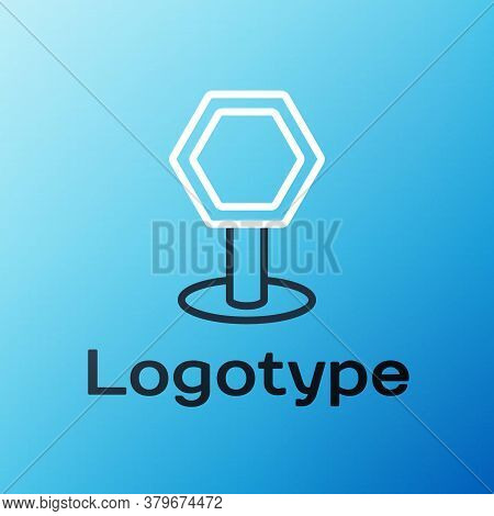 Line Road Traffic Sign. Signpost Icon Isolated On Blue Background. Pointer Symbol. Isolated Street I