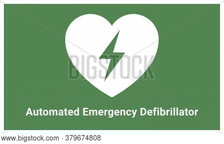 Emergency First Aid Aed Defibrillator Sign Sticker