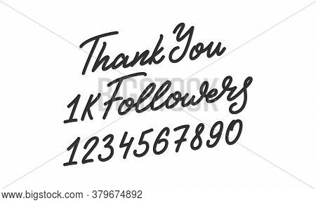 Thank You Followers. Template For Social Media. Followers Lettering Calligraphy