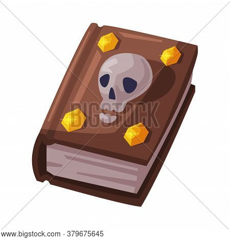 Witch Spell Book With Skull Bone, Witchcraft Attribute, Happy Halloween Object Cartoon Style Vector