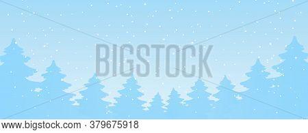 Winter Festive Banner, Silhouettes Of Cartoon Christmas Trees And Snowfall. Modern Blue Christmas Ba