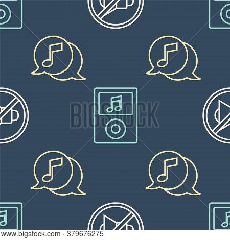 Set Line Speaker Mute, Musical Note In Speech Bubble And Music Player On Seamless Pattern. Vector