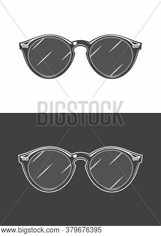 Vintage Monochrome Detailed Sunglasses Illustration. Isolated Vector Template