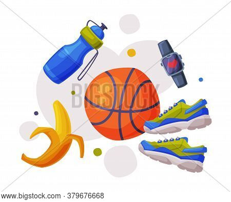 Healthy Lifestyle Objects, Sports Equipment, Nutritious Food, Athletic Shoes, Smartwatch Cartoon Sty