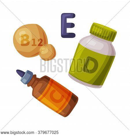 Healthy Diet Concept, Vitamins, Nutritional Supplements Cartoon Style Vector Illustration