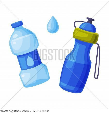 Water Bottles Set, Sports And Plastic Recycled Blue Water Bottle Cartoon Style Vector Illustration