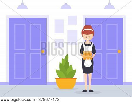 Housemaid Dressed In Classic Maid Uniform Standing With Stack Of Towels, Hotel Staff Character Carto