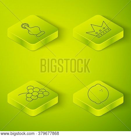 Set Isometric King Playing Card, Casino Slot Machine With Grape, Casino Slot Machine With Lemon And