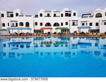 Egypt, Hurghada, February, 2019 - Swimming Pool With Clear Water At The Arabella Hotel In Hurghada,